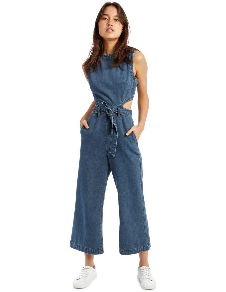 Blue Denim Cut-Out Jumpsuit image 1