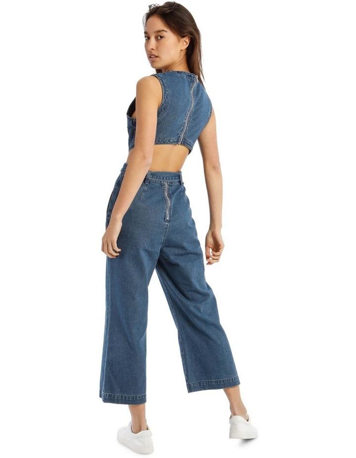 Blue Denim Cut-Out Jumpsuit image 3