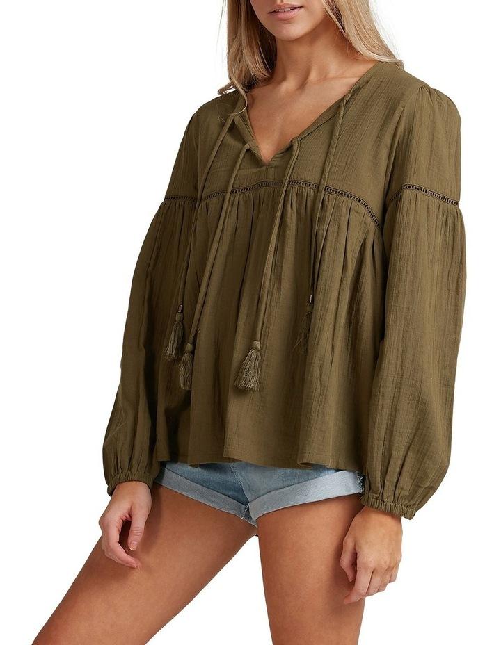 Gypsy V-Neck Long Sleeve Top Khaki image 2