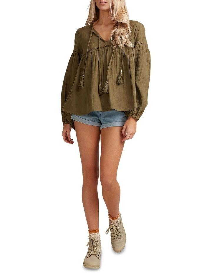 Gypsy V-Neck Long Sleeve Top Khaki image 5