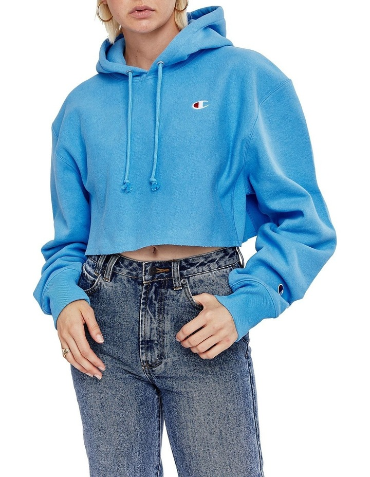 Reverse Weave Cropped Cut Off Hood Jumper image 1