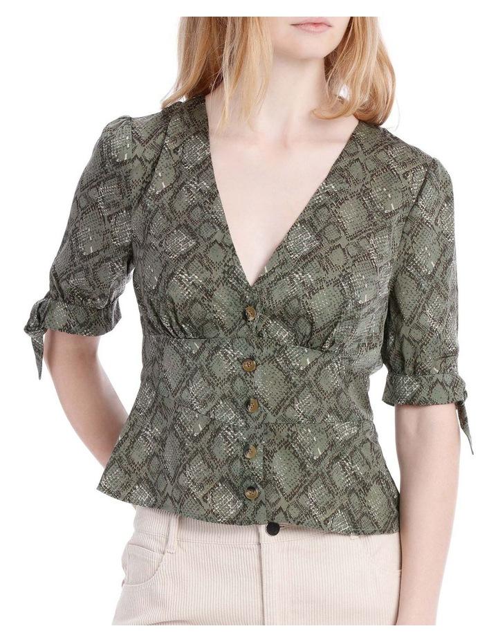 Button Through Tie Slv Blouse - Snake Print image 1