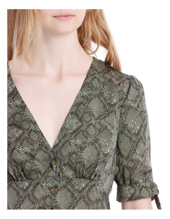 Button Through Tie Slv Blouse - Snake Print image 4