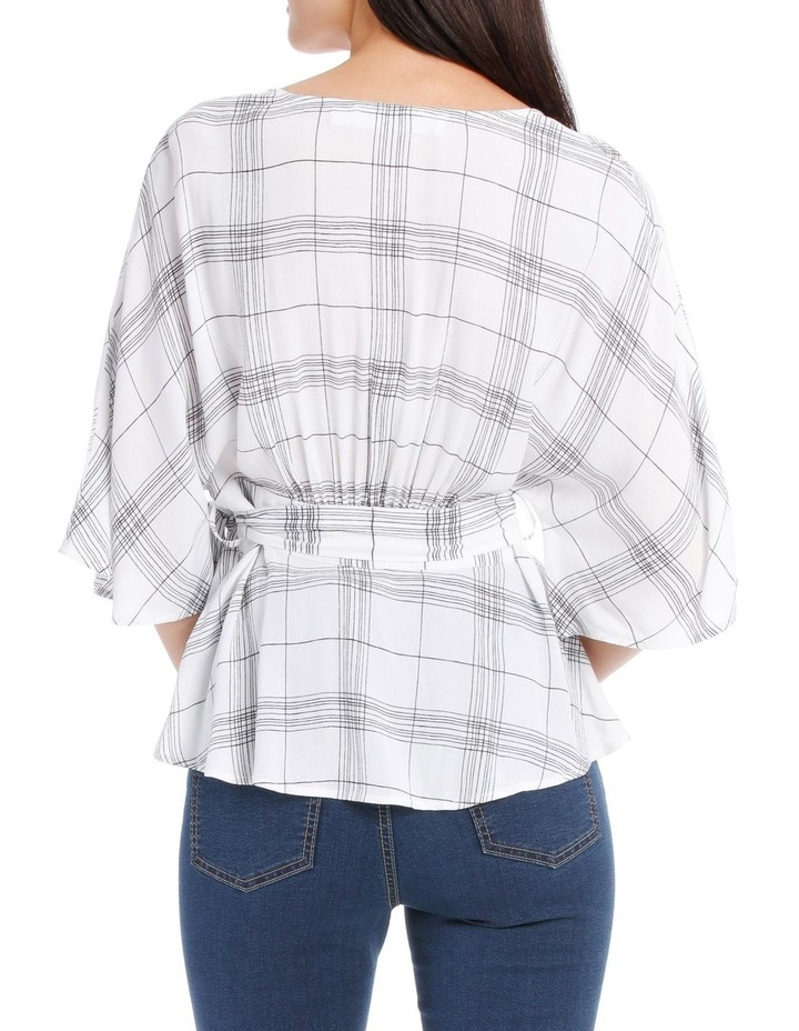 Check Kimono Sleeve Tie Waist Top image 3
