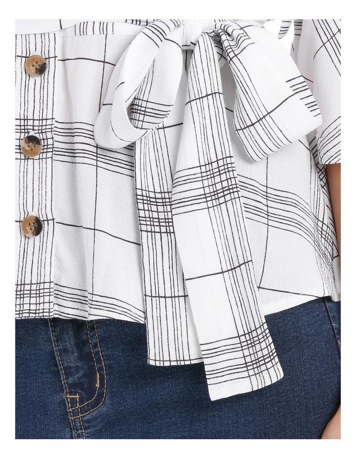 Check Kimono Sleeve Tie Waist Top image 4