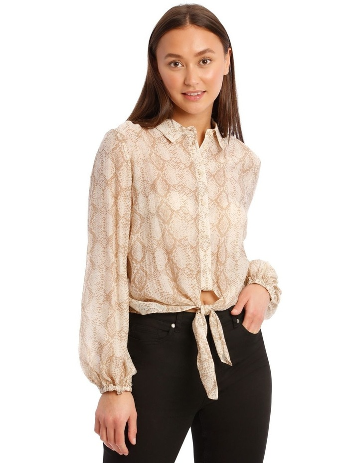 Snakeskin Print Shirt with Knot Front image 1