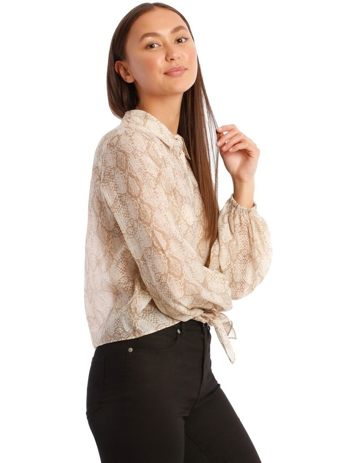 Snakeskin Print Shirt with Knot Front image 2
