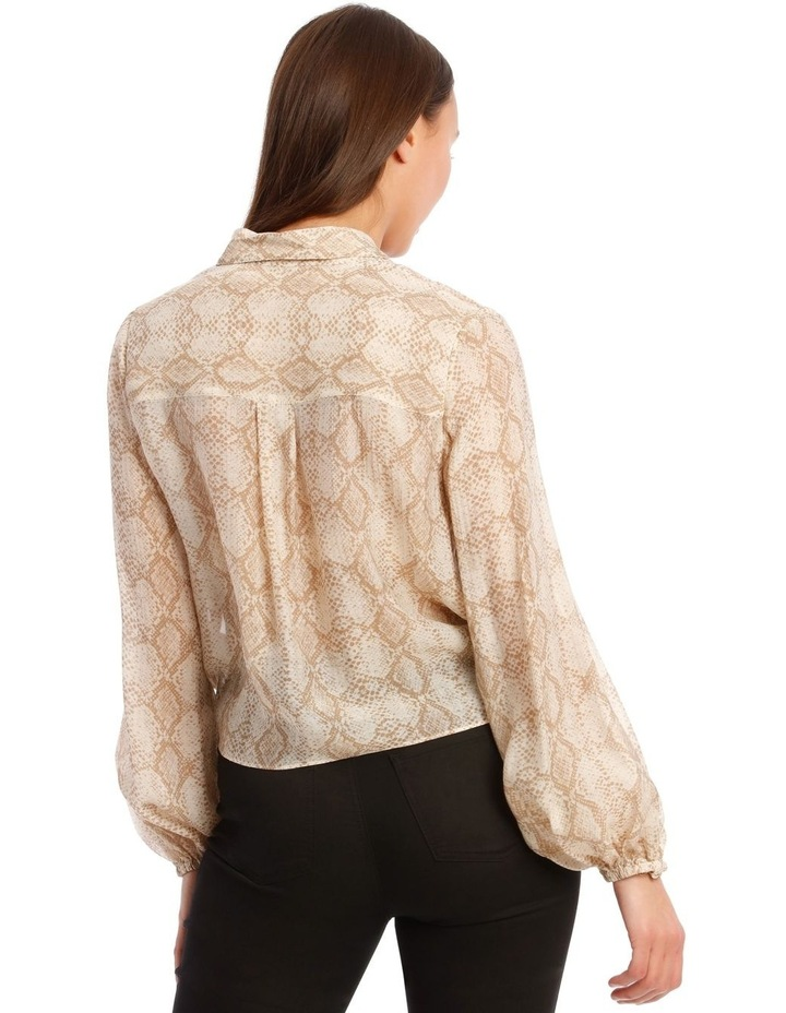 Snakeskin Print Shirt with Knot Front image 3