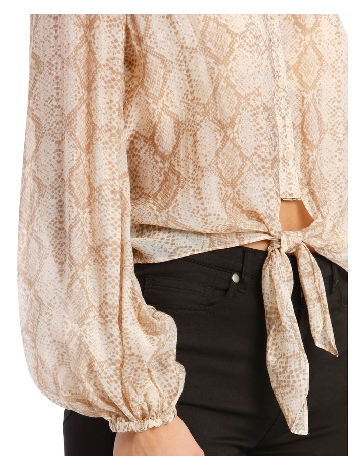 Snakeskin Print Shirt with Knot Front image 5