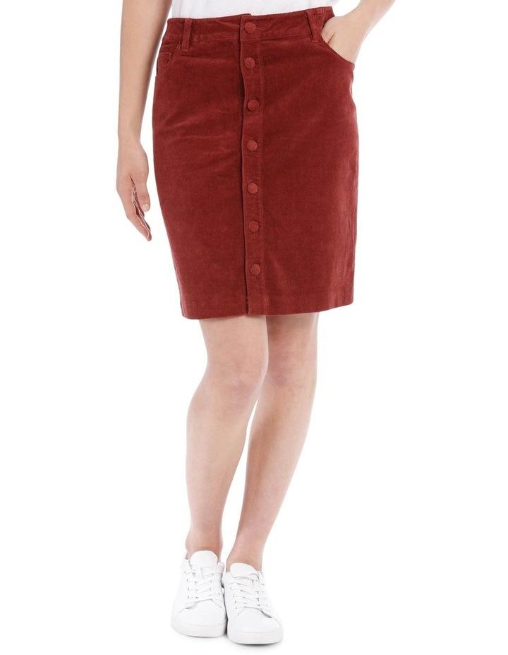 Cord Button Through Midi Skirt image 1