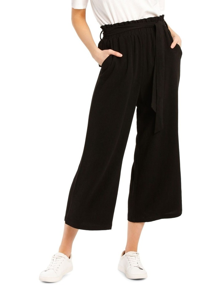 Paperbag Waist Wide Leg Linen Blend Pant image 1