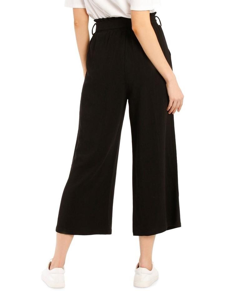Paperbag Waist Wide Leg Linen Blend Pant image 3