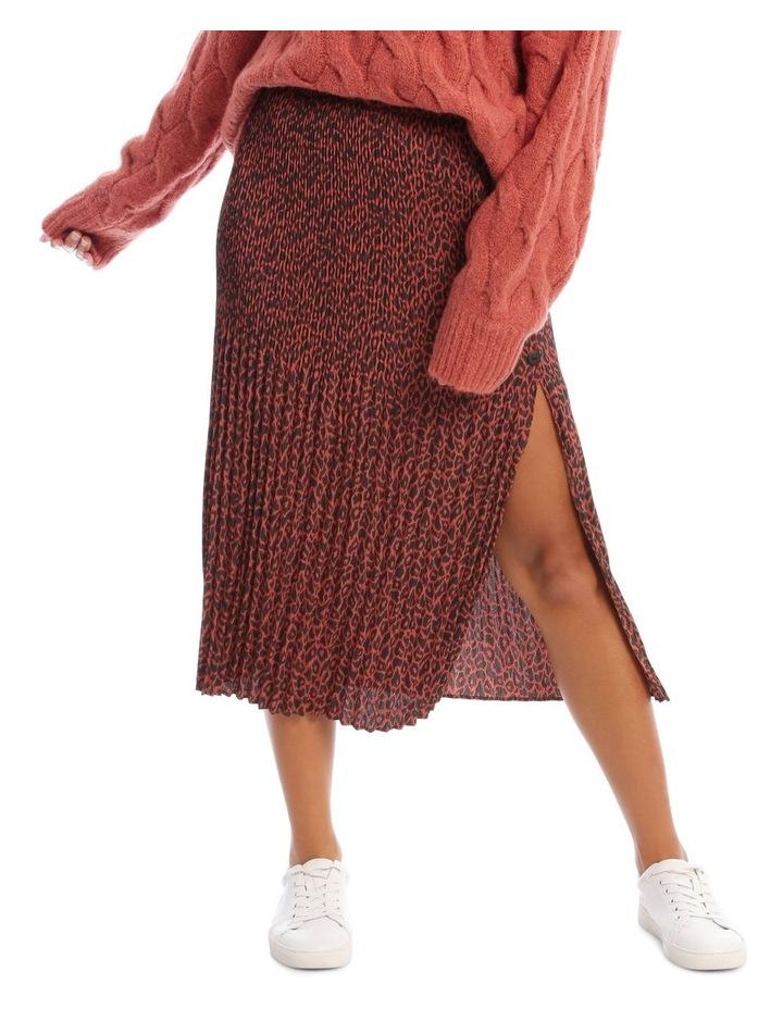 Gradual Pleat Side Split Skirt - Clay Animal image 1