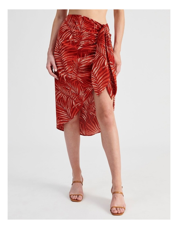 Sarong Skirt in Red Palm Print image 1