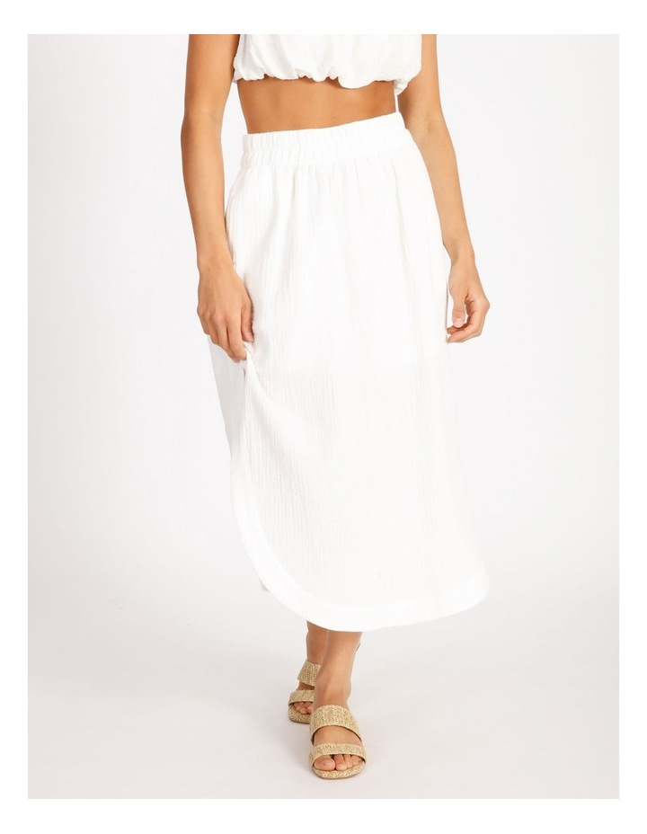 Side Split Elastic Waist Linen Blend Midi Skirt image 1