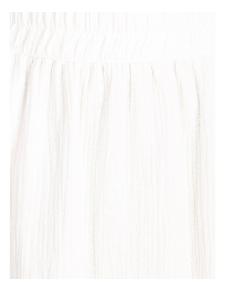 Side Split Elastic Waist Linen Blend Midi Skirt image 5