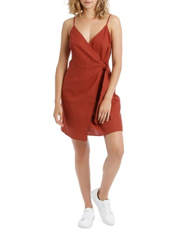 9943a40ad09 Milk   Honey Linen Ruched Wrap Mini Dress