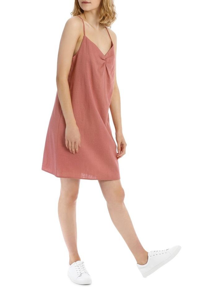 Linen Blend Ruched Front Dress image 2