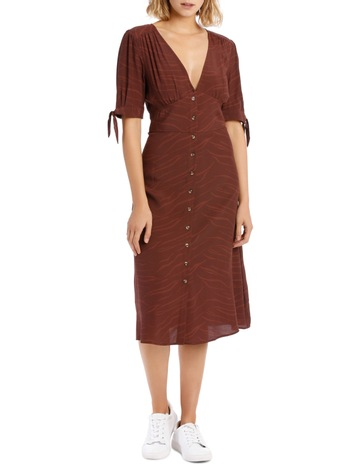 6aa2248eff0 Milk   HoneyV Neck Tie Slv Midi Dress - Chocolate Zebra. Milk   Honey V  Neck Tie Slv Midi Dress - Chocolate Zebra