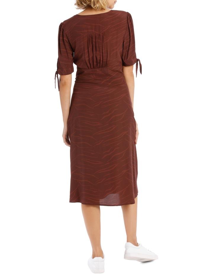 V Neck Tie Slv Midi Dress - Chocolate Zebra image 3