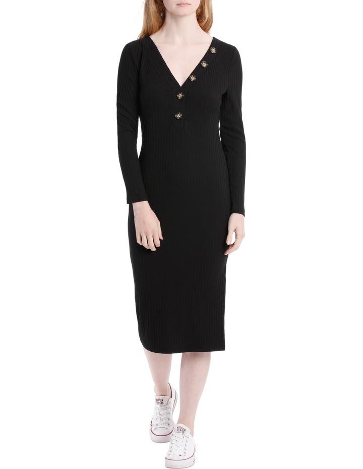 Button Neck Rib Long Sleeve Midi Dress image 1