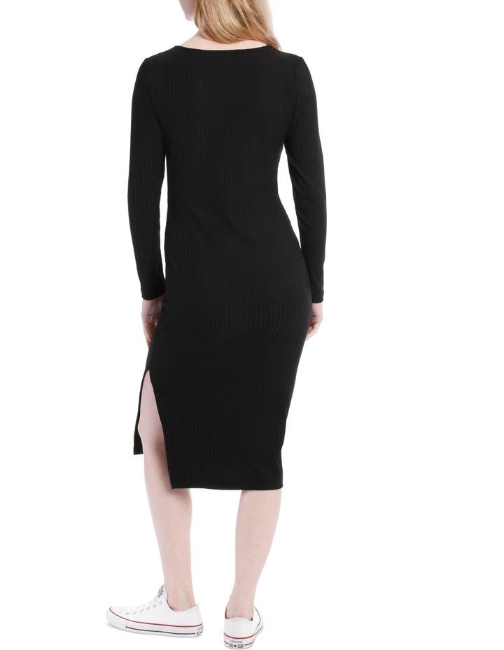 Button Neck Rib Long Sleeve Midi Dress image 3