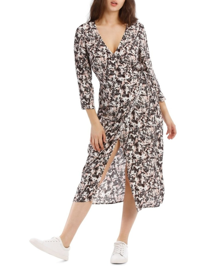 Pampas Print Long Sleeve Midi Wrap Dress image 1