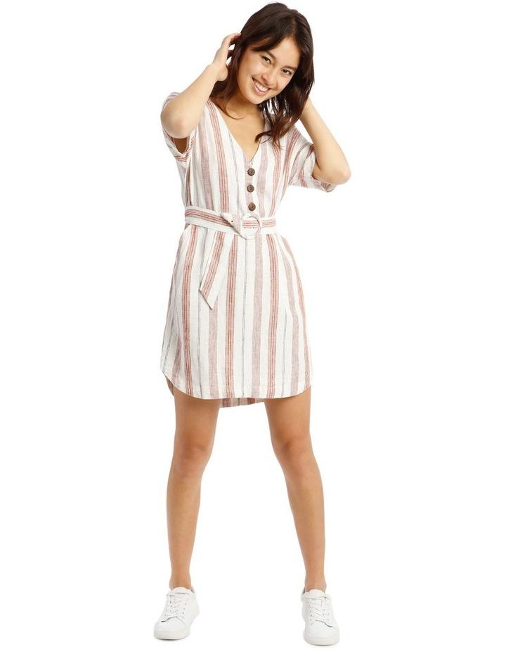 Button V-Neck Belted Linen Blend Dress image 1