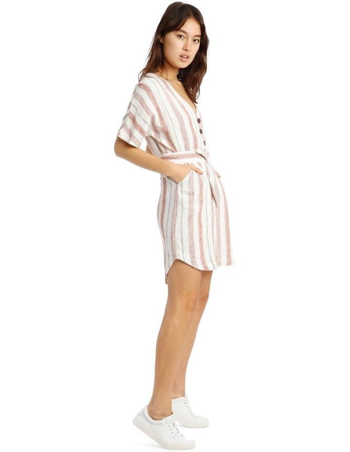 Button V-Neck Belted Linen Blend Dress image 2