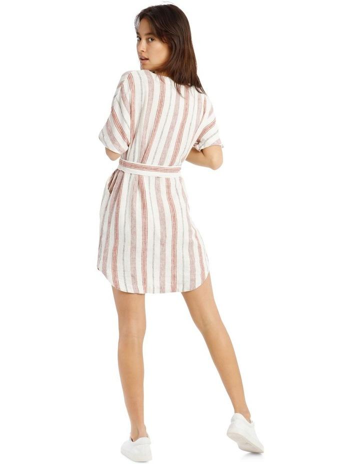 Button V-Neck Belted Linen Blend Dress image 3