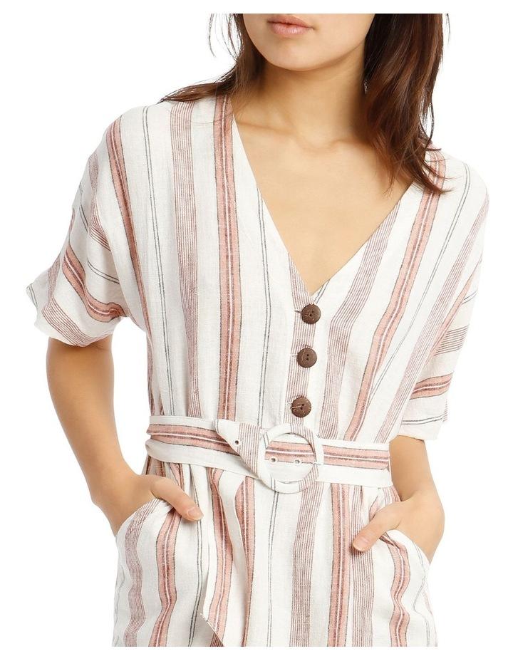 Button V-Neck Belted Linen Blend Dress image 4