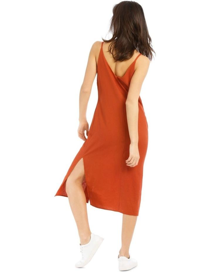 Button Through Midi Linen Blend Dress image 3