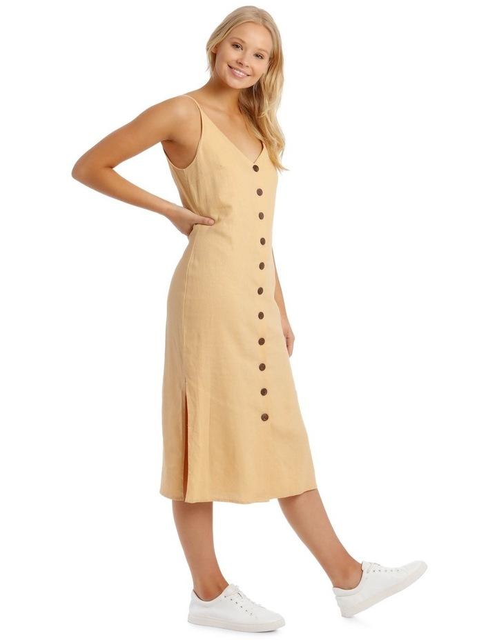 Button Through Midi Linen Blend Dress image 1