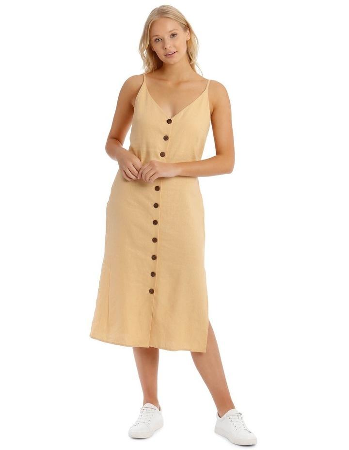 Button Through Midi Linen Blend Dress image 2