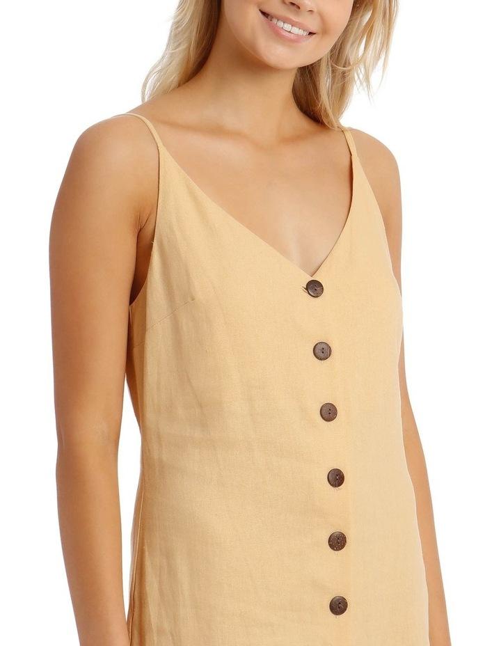 Button Through Midi Linen Blend Dress image 4