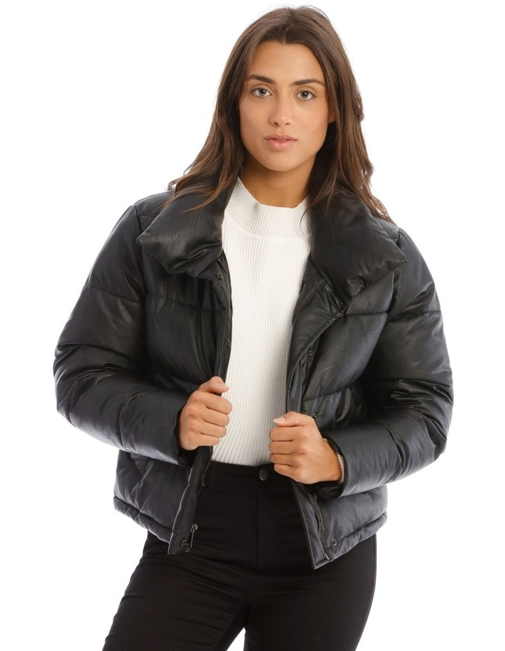 Vegan Leather Cropped Leather Puffer image 1