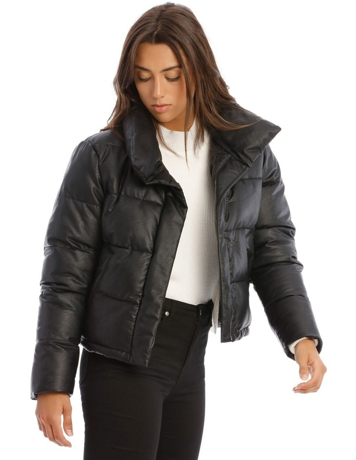 Vegan Leather Cropped Leather Puffer image 2