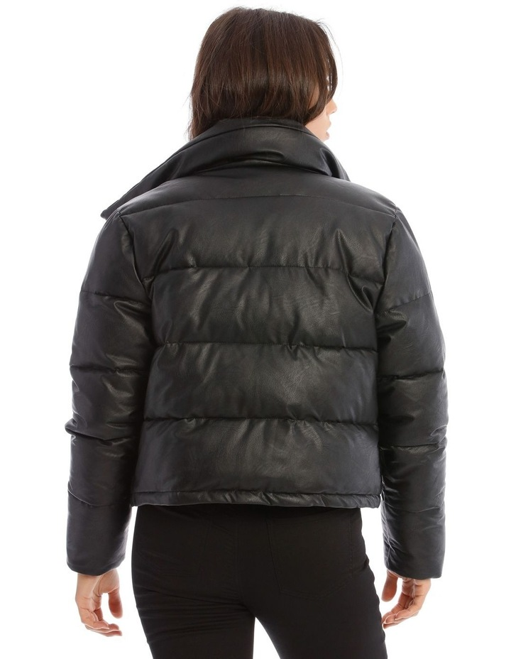 Vegan Leather Cropped Leather Puffer image 3