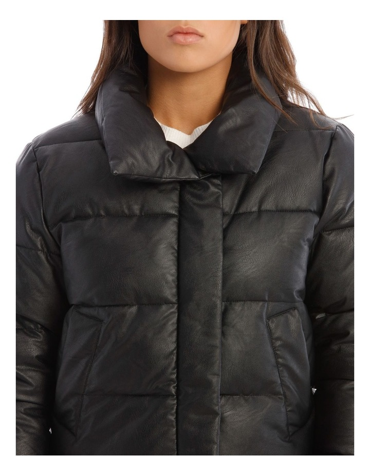 Vegan Leather Cropped Leather Puffer image 4
