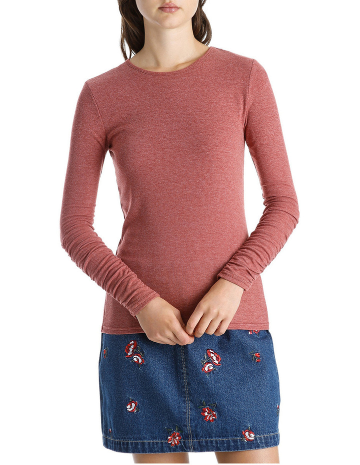 Long Sleeve Ruched Layering Top image 1