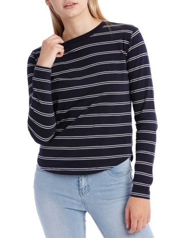 fffd001211 Miss Shop EssentialsL Slv Crew Neck Curve Hem Top - White Navy Stripe. Miss  Shop Essentials L Slv Crew Neck Curve Hem Top - White Navy Stripe