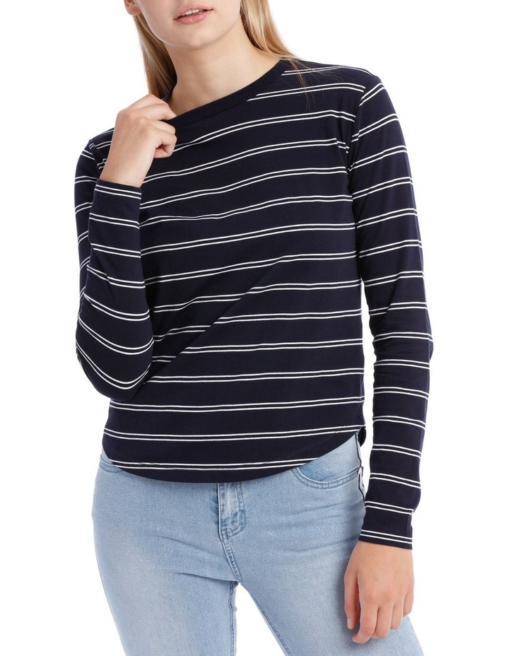 L/Slv Crew Neck Curve Hem Top - White/Navy Stripe image 1
