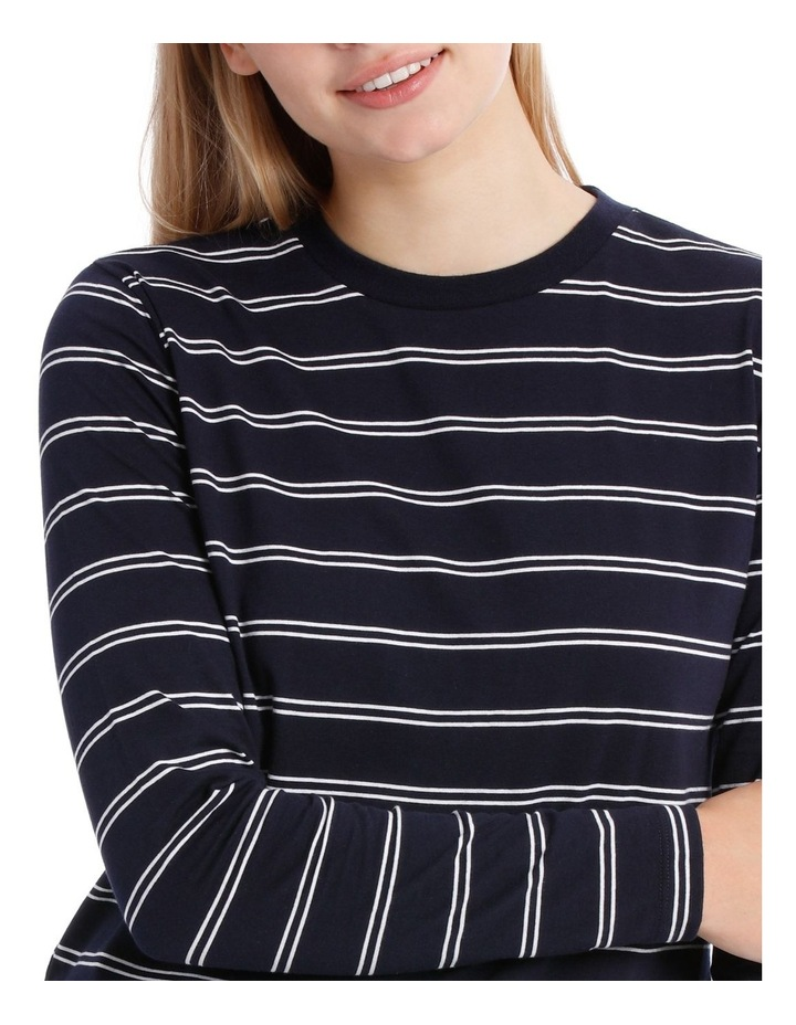 L/Slv Crew Neck Curve Hem Top - White/Navy Stripe image 4