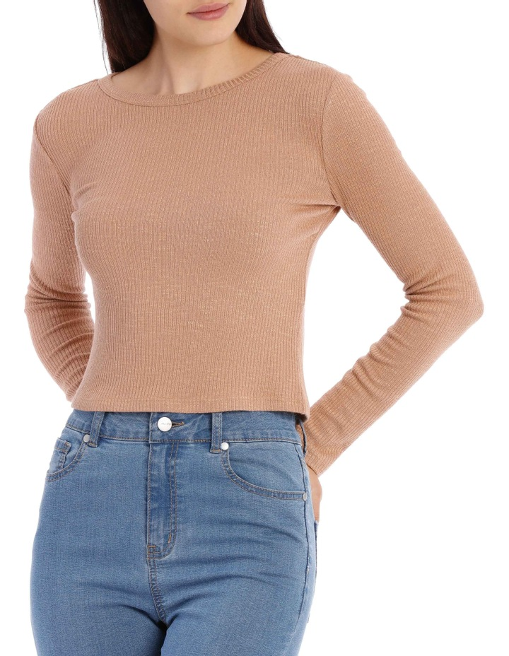Crew Neck Cropped Long Sleeve Rib Top image 1
