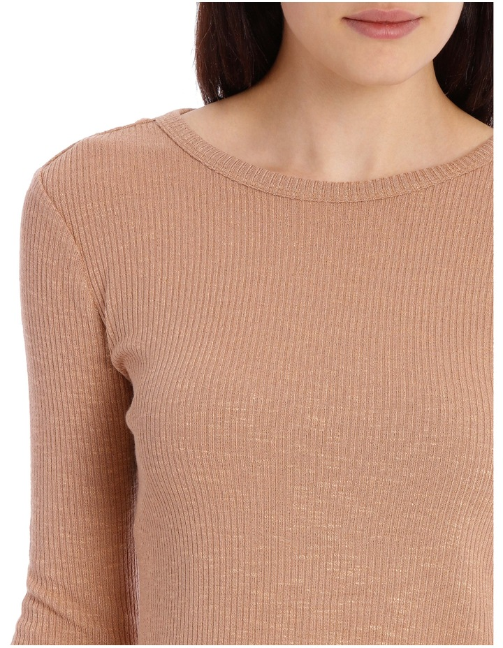 Crew Neck Cropped Long Sleeve Rib Top image 4