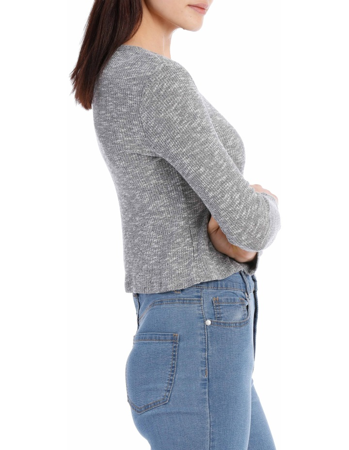 Crew Neck Cropped Long Sleeve Rib Top image 2
