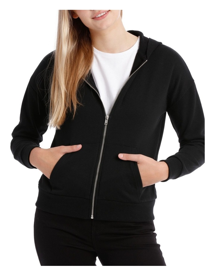 Terry Back Zip Through Hooded Sweat Top image 1