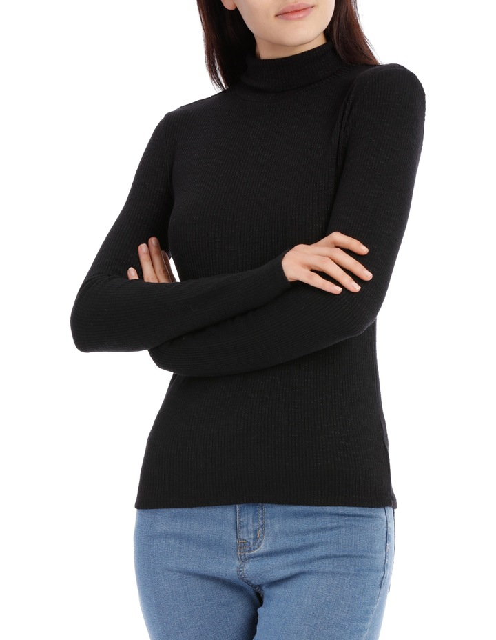 Roll Neck Long Sleeve Rib Top image 1