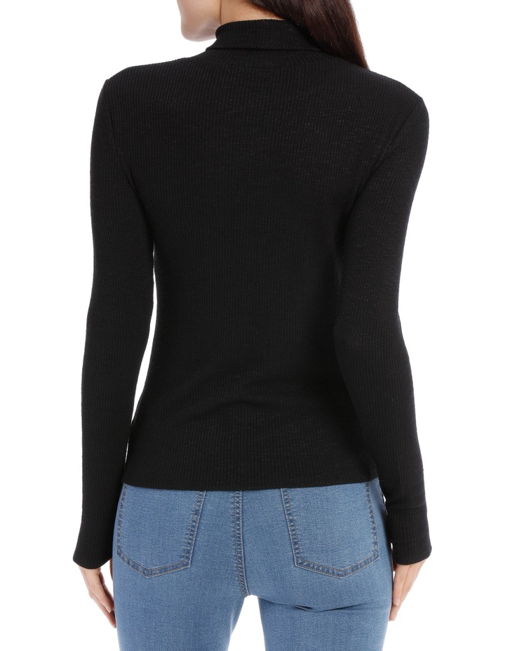 Roll Neck Long Sleeve Rib Top image 3