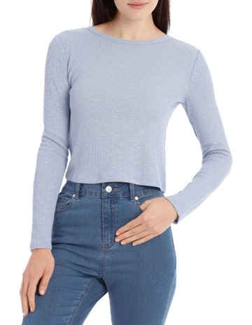 3103637f Miss Shop EssentialsCrew Neck Cropped Long Sleeve Rib Top. Miss Shop  Essentials Crew Neck Cropped Long Sleeve Rib Top